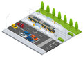 Modern Tramway on the stop and cars on the road Metropolitan mass transit system icons featuring tram car, cable car and