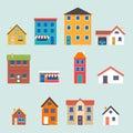 Modern trendy retro house street flat icons set Royalty Free Stock Photo
