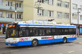 Modern trolley bus solaris on a street in gdynia in northern poland Royalty Free Stock Photos