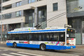 Modern trolley bus solaris on a street in gdynia in northern poland Royalty Free Stock Photo