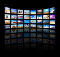 Modern TV screens panel Stock Photo