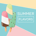 Modern typographic summer poster design with ice cream and geometric elements