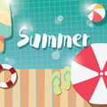 Modern typographic summer poster design with ice cream, swimming pool and geometric elements