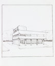 Modern urban building architectural perspective of in landscape drawn by hand Royalty Free Stock Images