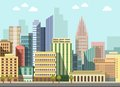 Modern urban city landscape vector flat day panorama buildings Royalty Free Stock Photo