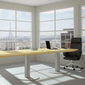 Modern urban office room empty with skyline Stock Photography