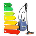 Modern Vacuum Cleaner near Energy Efficiency Rating Chart. 3d Re