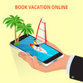 Modern vector concept of traveling,booking online, planning a summer vacation. Travel air tickets resort hotel booking Royalty Free Stock Photo