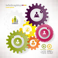 Modern vector elements for infographics with different cogwheels and teamwork Royalty Free Stock Image