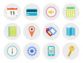 Modern vector icons set collection of in flat design on various theme isolated in gray circle on white background Stock Image