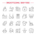 Modern vector line icon of breast feeding, baby infant food. Nursery elements - breast pump, woman, child, powdered milk, bottle
