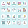 Modern vector line icon of senior and elderly care. Nursing home element - old people, wheelchair, leisure, hospital Royalty Free Stock Photo