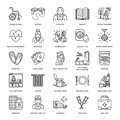 Modern vector line icon of senior and elderly care. Royalty Free Stock Photo