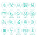 Modern vector line icon of senior and elderly care. Nursing home elements - old people, wheelchair, leisure, hospital