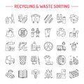 Modern vector line icon of waste sorting, recycling. Garbage collection. Recyclable waste - paper, glass, plastic, metal. Linear Royalty Free Stock Photo