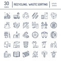 Modern vector line icon of waste sorting, recycling. Garbage collection. Recyclable waste - paper, glass, plastic, metal. Linear p