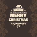 Modern vector style brown pale yellow color scheme merry christmas greetings card Royalty Free Stock Photo
