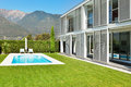 Modern villa with pool view from the garden Stock Photo