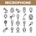 stock image of  Modern And Vintage Microphone Vector Linear Icons Set