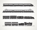 Modern and vintage train silhouettes silhouette collection Stock Image