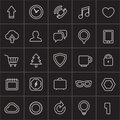 Modern web icons collection on black Royalty Free Stock Photography