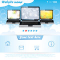 Modern website template for laptop company Stock Photos