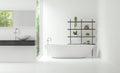 Modern white bathroom interior minimal style 3d rendering image