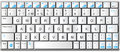 Modern white with blue laptop bluetooth keyboard Royalty Free Stock Photo