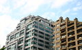 Modern White and Gray Condo Buildings Royalty Free Stock Photo