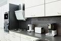 Modern white kitchen, clean interior design Royalty Free Stock Photo