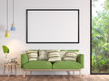 Modern white living room with blank frame 3d render image Royalty Free Stock Photo