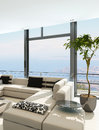 Modern white living room interior with splendid seascape view a d rendering of a Stock Photos