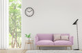 Modern white living room with pastel furniture 3d rendering image Royalty Free Stock Photo