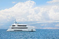 Modern white mega yacht in the blue sea rich people on holidays ocean Royalty Free Stock Image