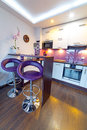 Modern white and purple kitchen interior of Stock Photo