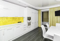 Modern white-yellow interior kitchen-dining room Royalty Free Stock Photo