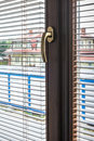 Modern window handle view from room inside Royalty Free Stock Photo