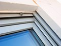 Modern windows installation detail a of a window showing internal integrated shutters and polystyrene wall insulation Royalty Free Stock Photos