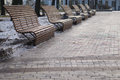 Modern wooden benches in the park Royalty Free Stock Photo