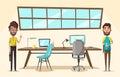 Modern workplace. Creative character. Office work. Cartoon vector illustration