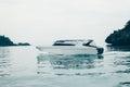 Modern yacht drifting in sea Royalty Free Stock Photo