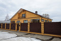Modern yellow brick house with balcony Royalty Free Stock Photo