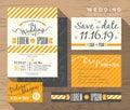 Modern yellow stripe wedding invitation set design Template