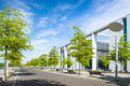 Moderne urban city landscape with trees and sky green blue Royalty Free Stock Photos