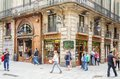 Modernist facade of philately shop in barcelona spain may famous traditional spain on may Royalty Free Stock Photos