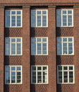 Modernist red brick facade in Hamburg Royalty Free Stock Photography