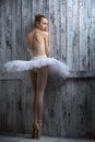 Modest ballerina standing near a wooden wall Royalty Free Stock Photo