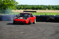 Modified car drifting napierville dragway canada june picture of nissan at head up challenge event Stock Image
