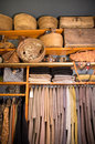 Mohair cloth in boutique wicker baskets and old suitcases for sale Stock Images