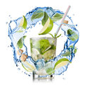 Mohito water splash with mint lime and sugar isolated on white Royalty Free Stock Images